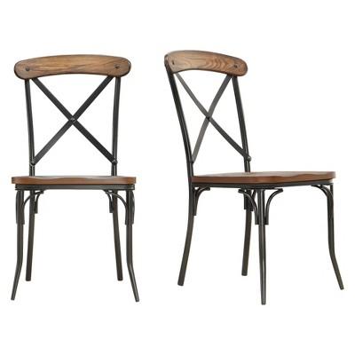 Merida Bistro Dining Chair - Metal/Distressed Ash (Set of 2)- Inspire Q