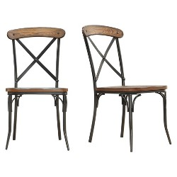 Merida Bistro Dining Chair - Metal/Distressed Ash (Set of 2) - Inspire Q