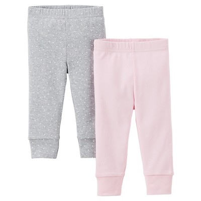 Precious Firsts™Made by Carter's® Newborn Girls' 2 Pack Pants - Pink/Gray 3 M