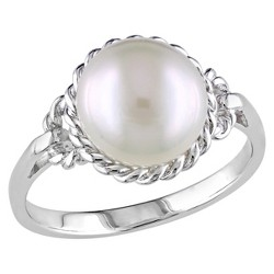 9-9.5mm Freshwater Cultured Pearl Ring in Sterling Silver - White