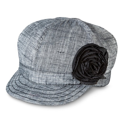80412ae62 Women's Canvas Newsboy Hat with Distressed Flower Black - Mossimo Supply  Co.™