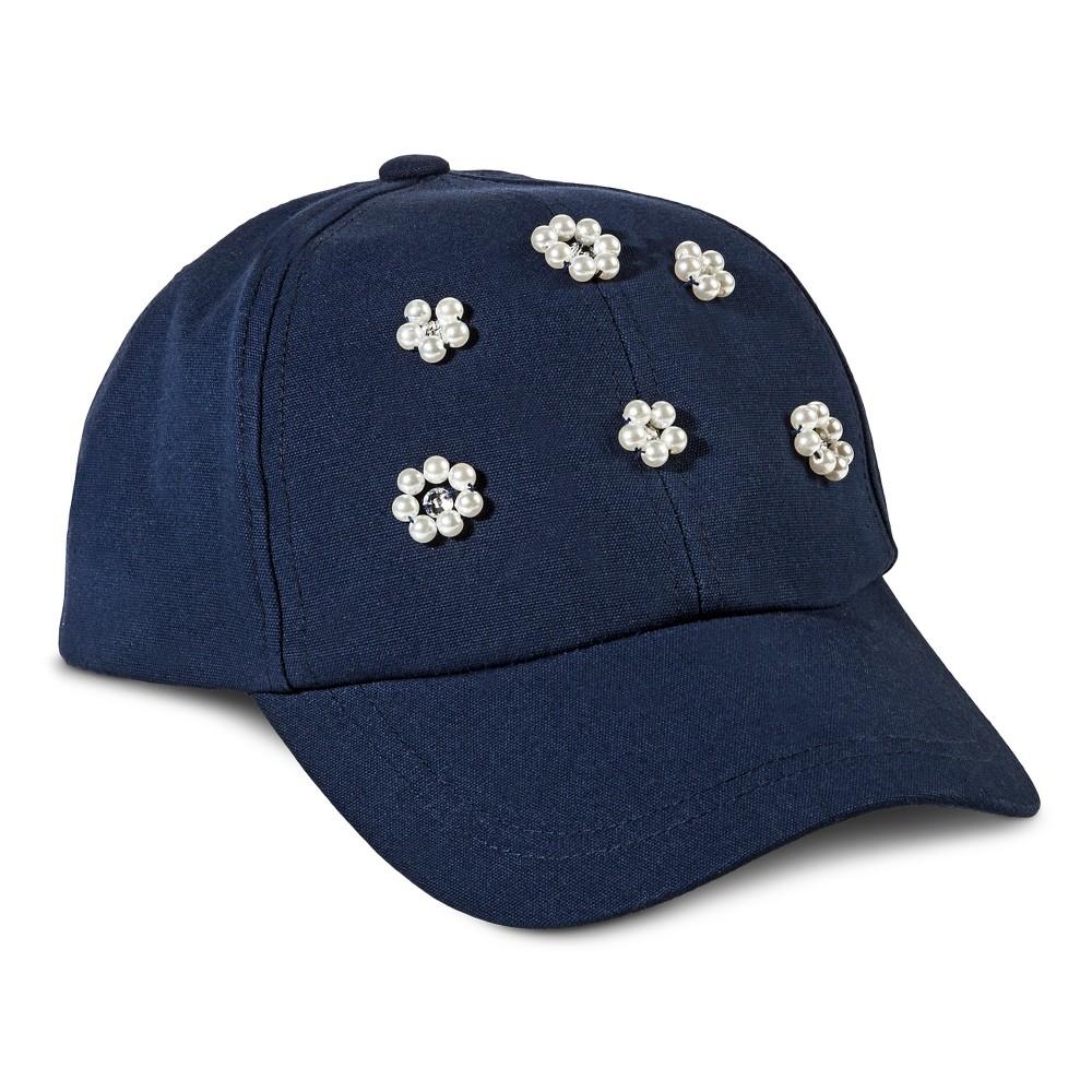 Womens Baseball Cap with Beaded Flowers Navy (Blue) - Merona