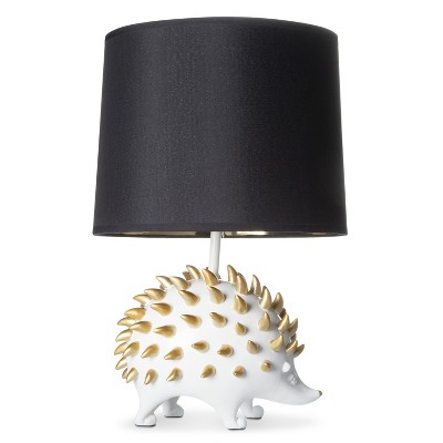 Hedgehog Figural Table Lamp With Gold Foil Shade   White
