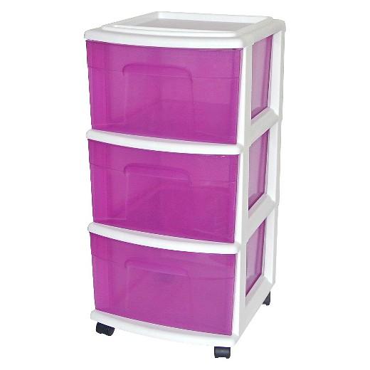 3-Drawer Medium Plastic Storage Cart - White/Purple - Room ...