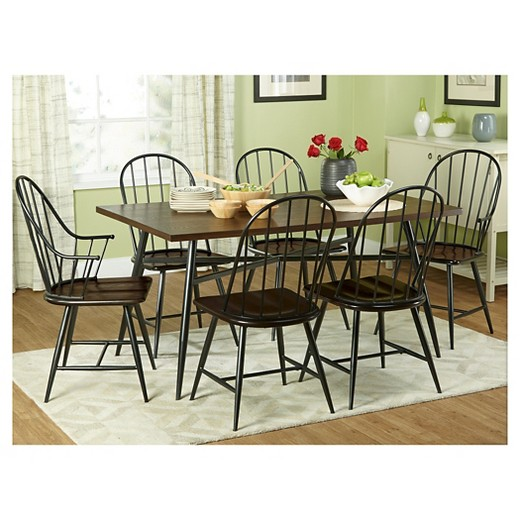 milo mixed media wood top arm chair metal/black (set of 2) - tms