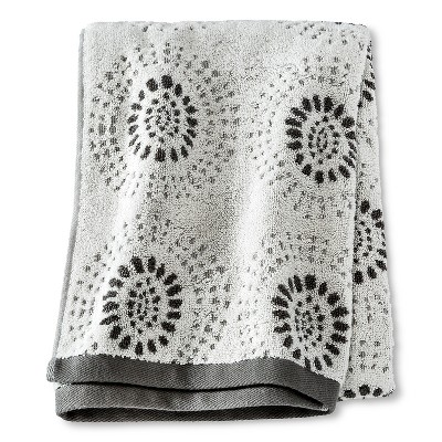 Bath Towel Dark Gray Geo - Threshold™