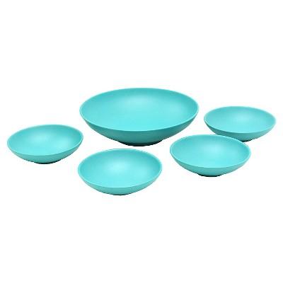5-Piece Melamine Serving Bowl Set with Concrete Speckle Finish Turquoise - Room Essentials™