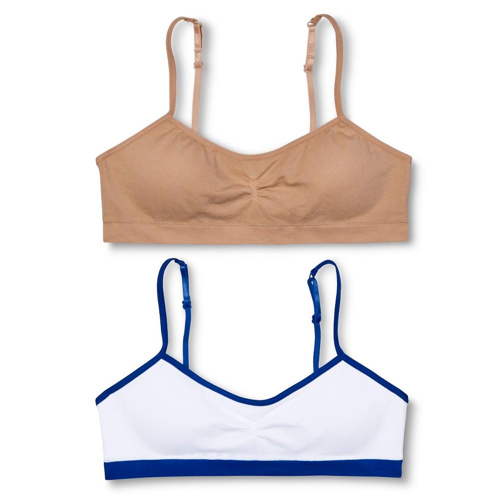 Hanes Girls' 2pk Padded Bralette - Nude M