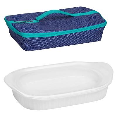 CorningWare® 3 Quart Portable Rectangular Baker - French White with Blue Carrier
