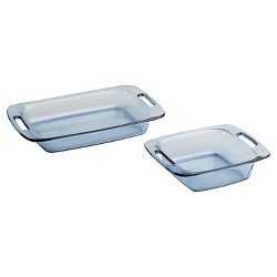 Pyrex - Tinted Glass Bakeware- 2pc Set 3qt & 8in Atlantic