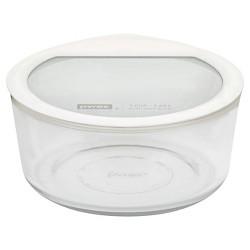 Pyrex No leak Glass Lids Storage 7 cup Round - White