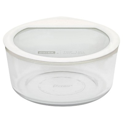 Pyrex No Leak Glass Lids Storage 7 Cup Round   White