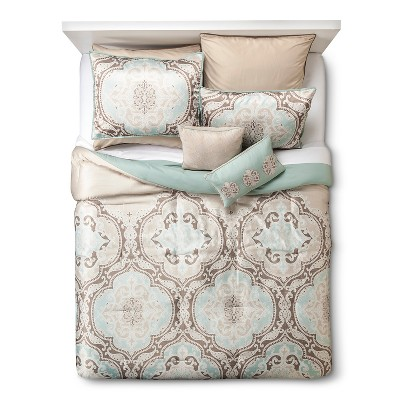 Natural/Brown/Mint Green Savoie Comforter Set Satin Paisley Queen 8pc 7pc