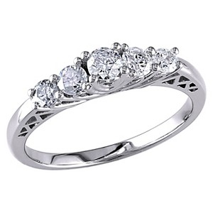 Allura 1/2 CT. T.W. Five Stone Diamond Engagement Ring in 10K White Gold (GH I2-I3) (5), Women