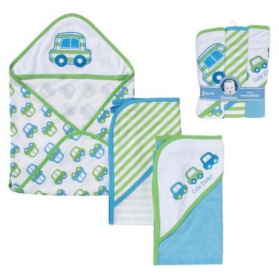 Gerber® Newborn Boys' 3-Pack Hooded Towels