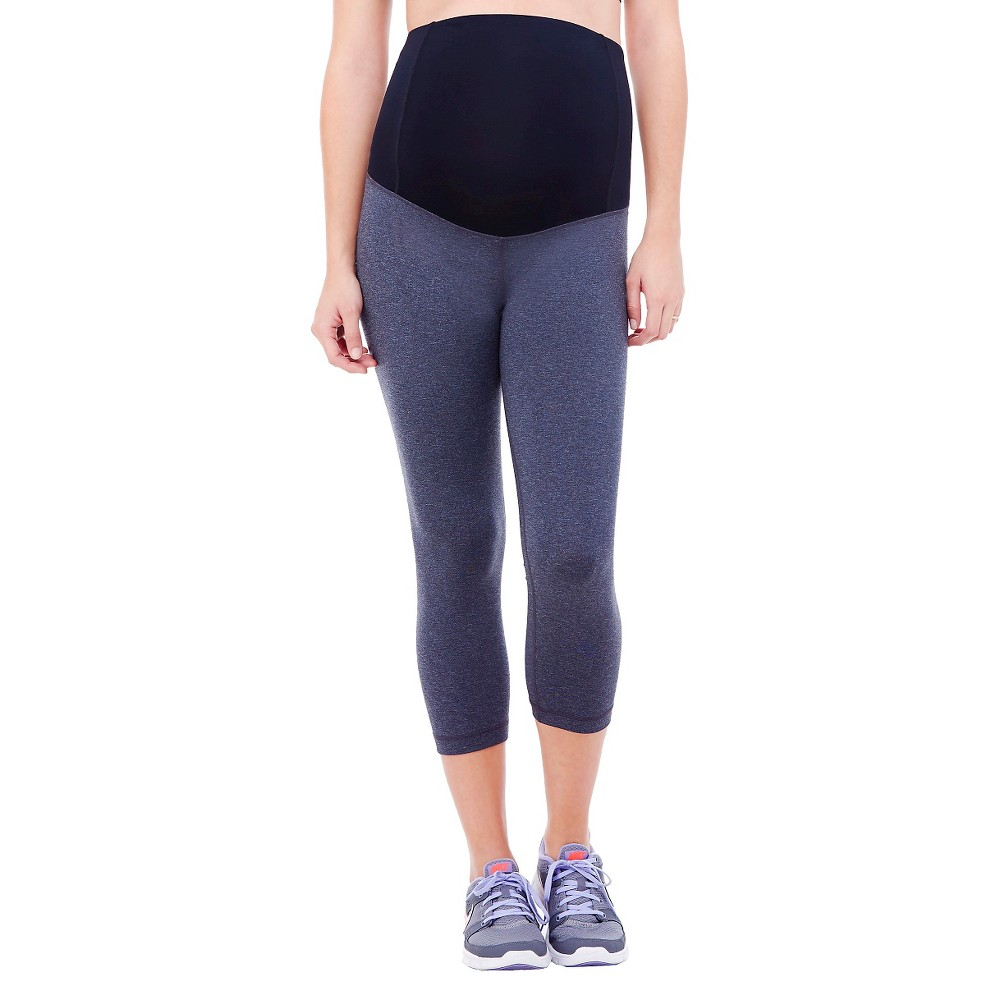 BeMaternity by Ingrid & Isabel Active Capri Pant with Crossover Panel L, Women's, Gray