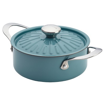 Rachael Ray Cucina Oven-To-Table Hard Enamel Nonstick 2-1/2-Quart Covered Round Casserole, Agave Blue