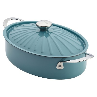 Rachael Ray Cucina Oven-To-Table Hard Enamel Nonstick 5-Quart Covered Oval Sauteuse, Agave Blue