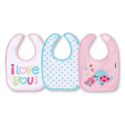 Gerber® Newborn Girls' 3 Pack Terry Bib Set - Pink