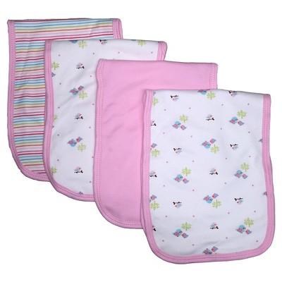 Gerber® Newborn Girls' 4 Pack Burp Cloth Set - Pink