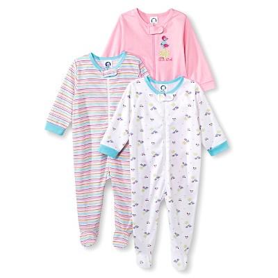 Gerber® Newborn Girls' 3 Pack Birds Sleep N' Play 0-3 M