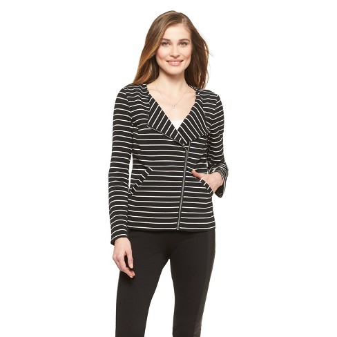 Women's Front Zip Blazer Black/White Striped - Mossimo - image 1 of 2