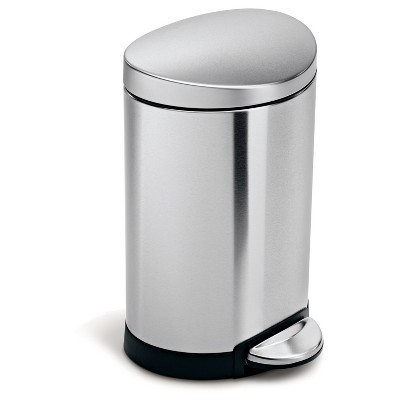 Simplehuman studio 6 Liter Semi-Round Step Trash Can, Brushed Stainless Steel