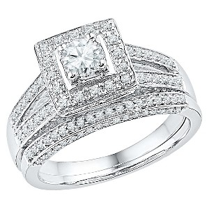 1.00 CT. T.W. Round Diamond Prong Set Bridal Ring in 10K White Gold (7), Women