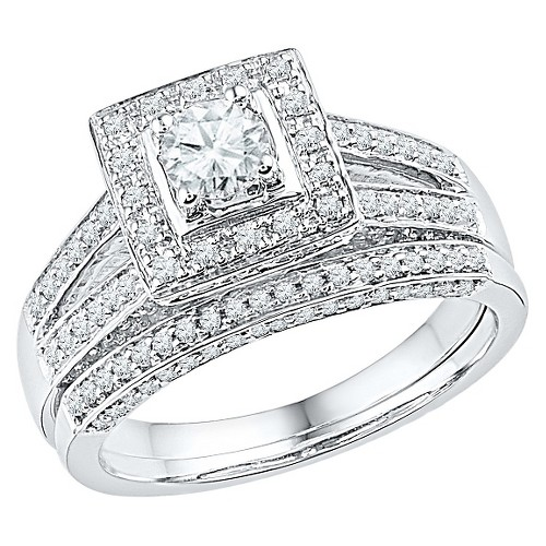 1.00 CT. T.W. Round Diamond Prong Set Bridal Ring in 10K White Gold (7), Women's