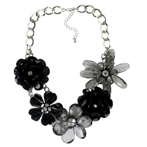 "Women's Fashion Necklace - Silver and Black (19"") - image 1 of 1"
