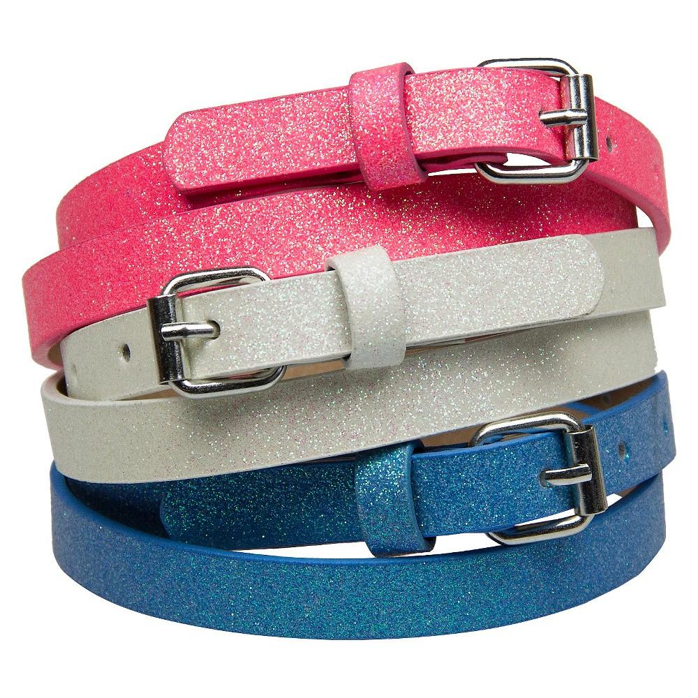 Girls 3pk Glitter Belts- Xhilaration Pink White Blue S