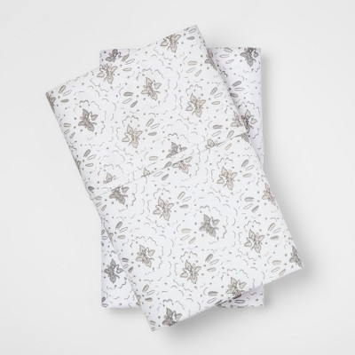 Performance Printed Floral Print Pillowcase (King)White & Blue 400 Thread Count - Threshold™