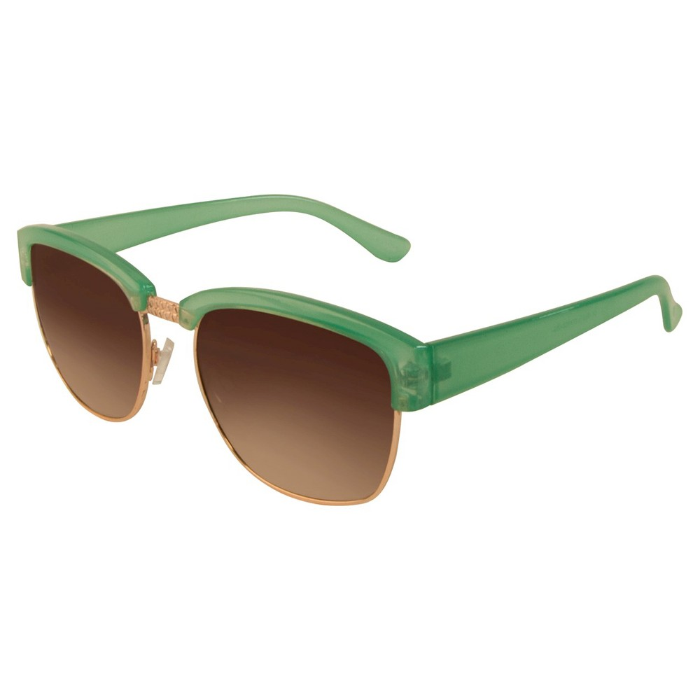 Womens Retro Sunglasses- Green/Gold