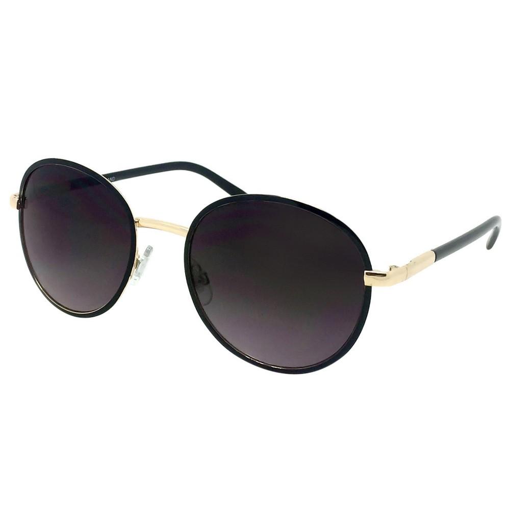 Womens Round Sunglasses - Black/Gold