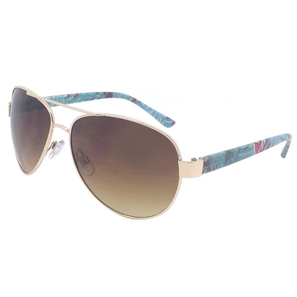 Womens Aviator Sunglasses w/ Brown Lenses - Blue, Light Gold