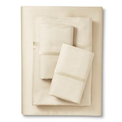 Elite Home Wrinkle Resistant 300TC Embroidary Sheet Set - Ivory (King)