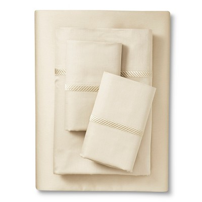 Elite Home Wrinkle Resistant 300TC Embroidary Sheet Set - Ivory (Twin)