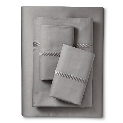 Elite Home Wrinkle Resistant 300TC Embroidary Sheet Set - Gray (Queen)