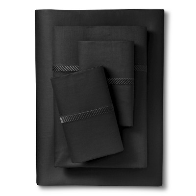 Elite Home Wrinkle Resistant 300TC Embroidary Sheet Set - Black (Full)