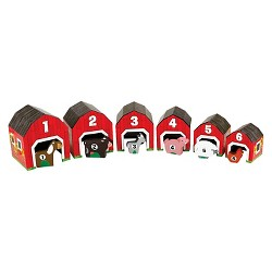 Melissa & Doug® Nesting and Sorting Barns and Animals With 6 Numbered Barns and Matching Wooden Animals