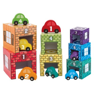 Melissa & Doug® Nesting and Sorting Garages and Cars With 7 Graduated Garages and 7 Stackable Wooden Cars