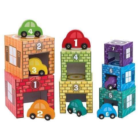 Melissa & Doug® Nesting and Sorting Garages and Cars With 7 Graduated Garages and 7 Stackable Wooden Cars - image 1 of 3