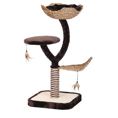Cat Life Nest and Scratching Post with Three Level Activity Center