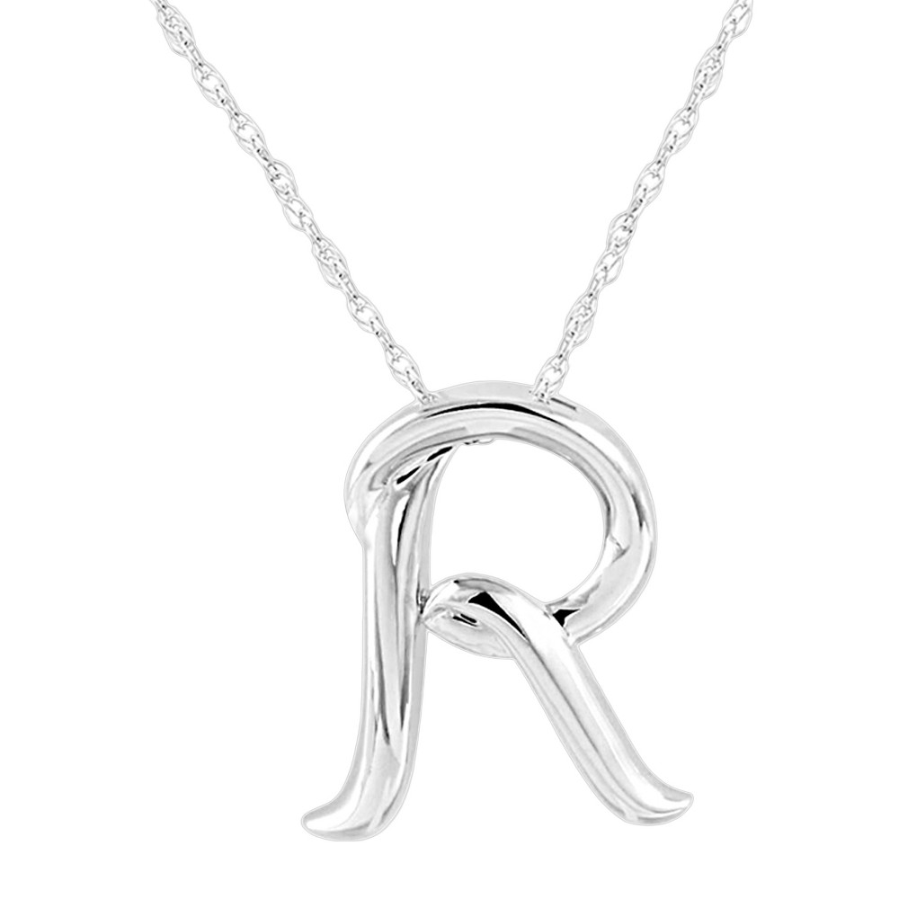 Womens Sterling Silver Alphabet r Pendant, Size: R
