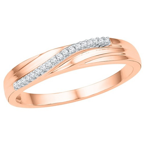 1/10 CT. T.W. Round Diamond Prong Set Fashion Ring in 10K Pink Gold (4.5), Women's