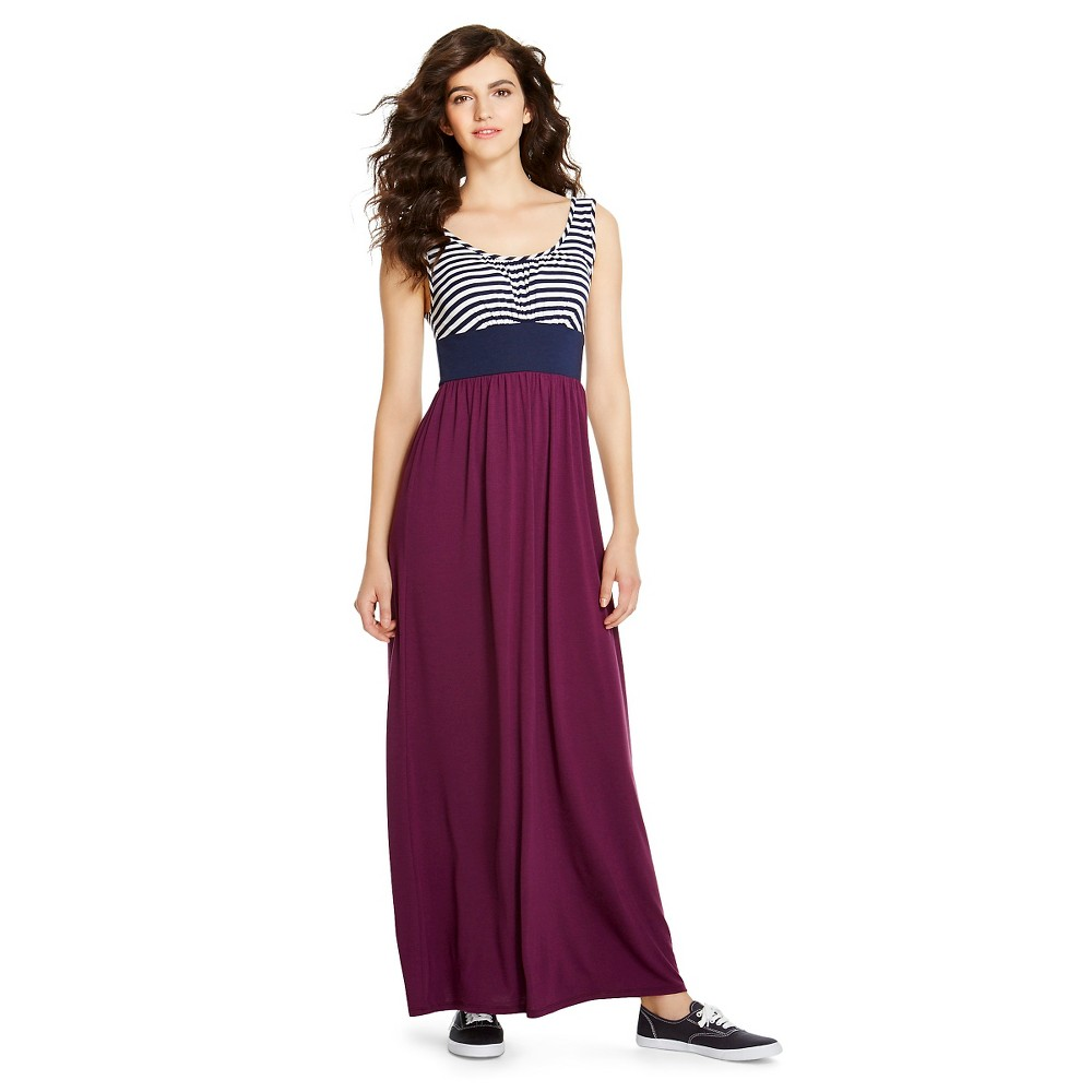 Maxi Dress Navy/Wht Stripe/Plum S - Mossimo Supply Co., Womens, Purple/Blue/White Stripe