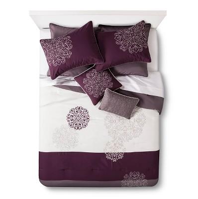 Cora 8 Piece Comforter Set - Plum/Gray (King)