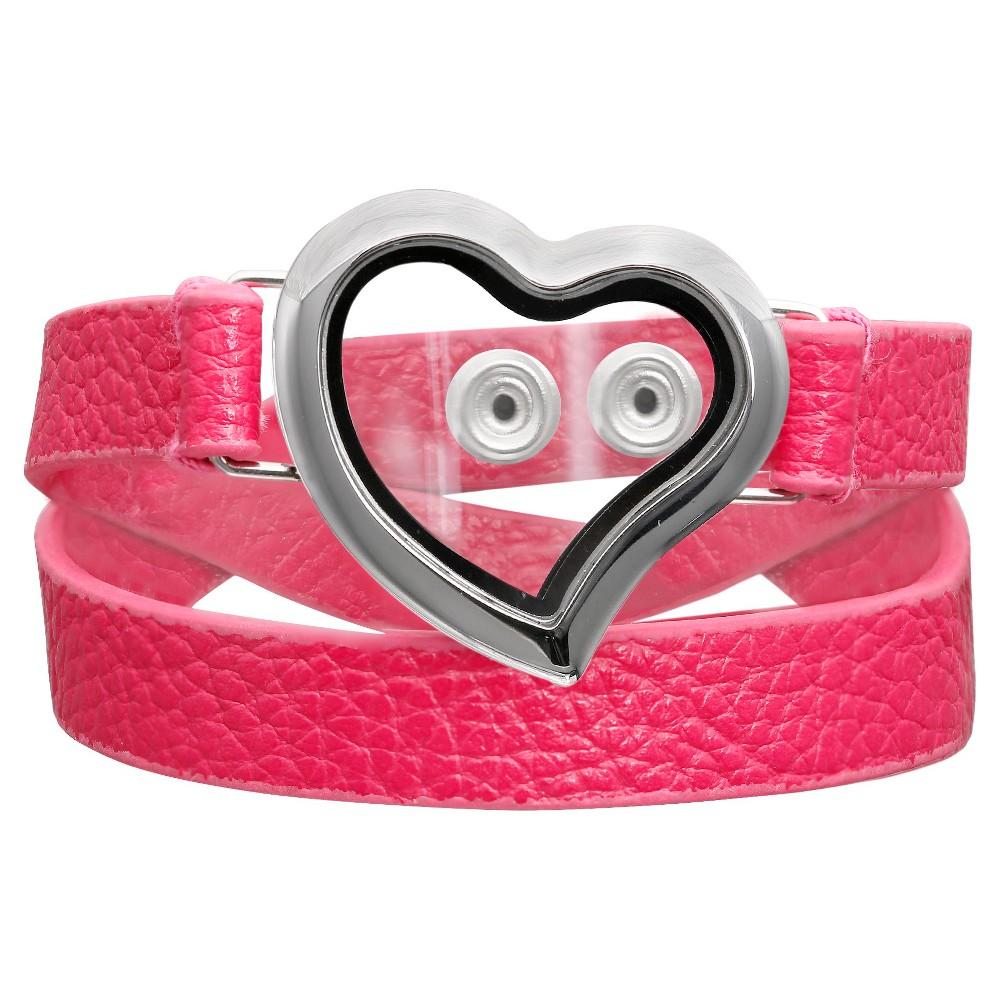 Womens Treasure Lockets Wrap Bracelet with Polished Heart Locket - Fuchsia (15.75)