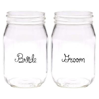 Wedding Party Mason Jars - Bride & Groom