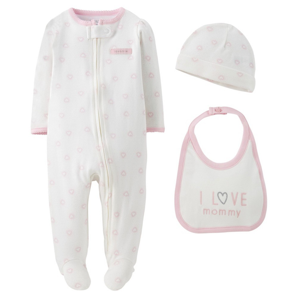 Precious FirstsMade by Carters Baby Girls 3 Piece Sleep N Play Set 9 M, White